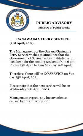 Canawaima Ferry- No Service Notice