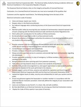Electrical Contractors Code of Conduct